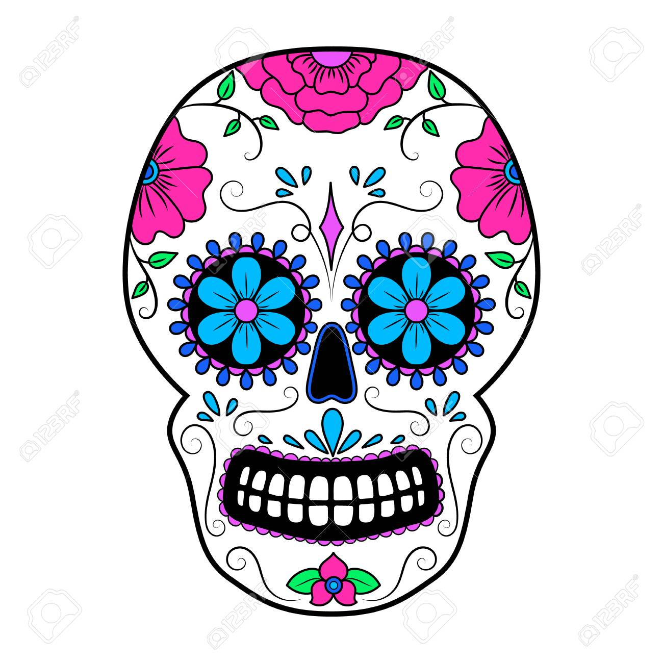 day of the dead colorful skull with floral ornament mexican rh 123rf com sugar skull vector image sugar skull vector free