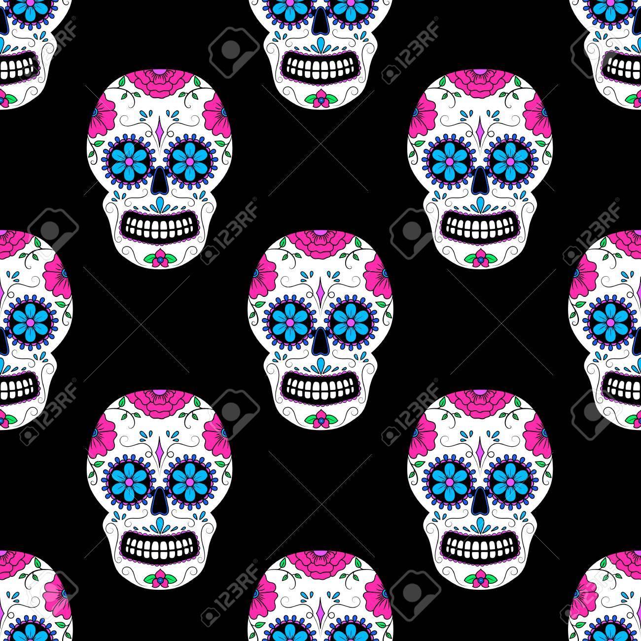 Vettoriale Day Of The Dead Cranio Colorato Con Ornamento Floreale