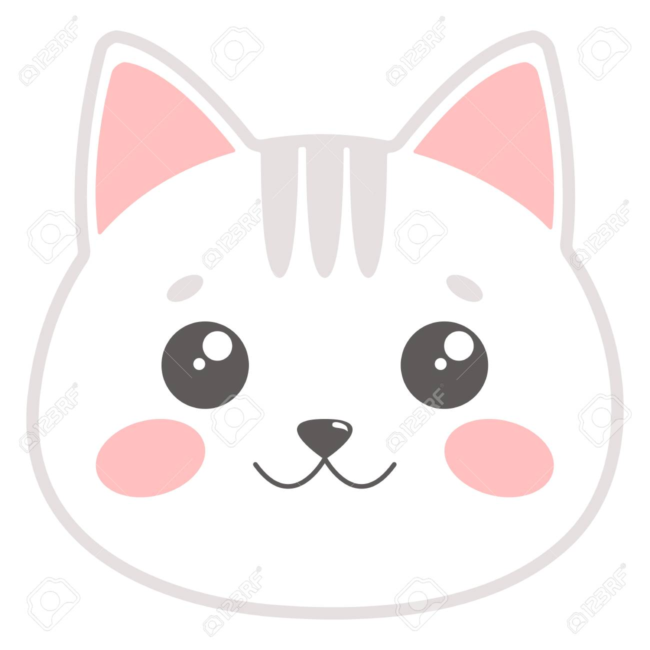 cute cat face vector illustration royalty free cliparts vectors