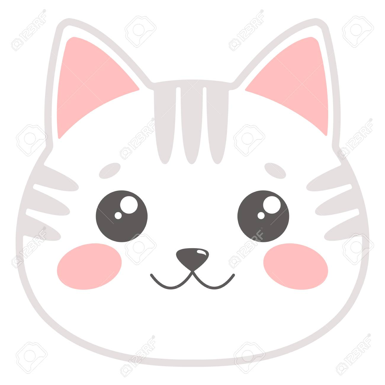 Cute Cat Face Vector Illustration Royalty Free Cliparts Vectors