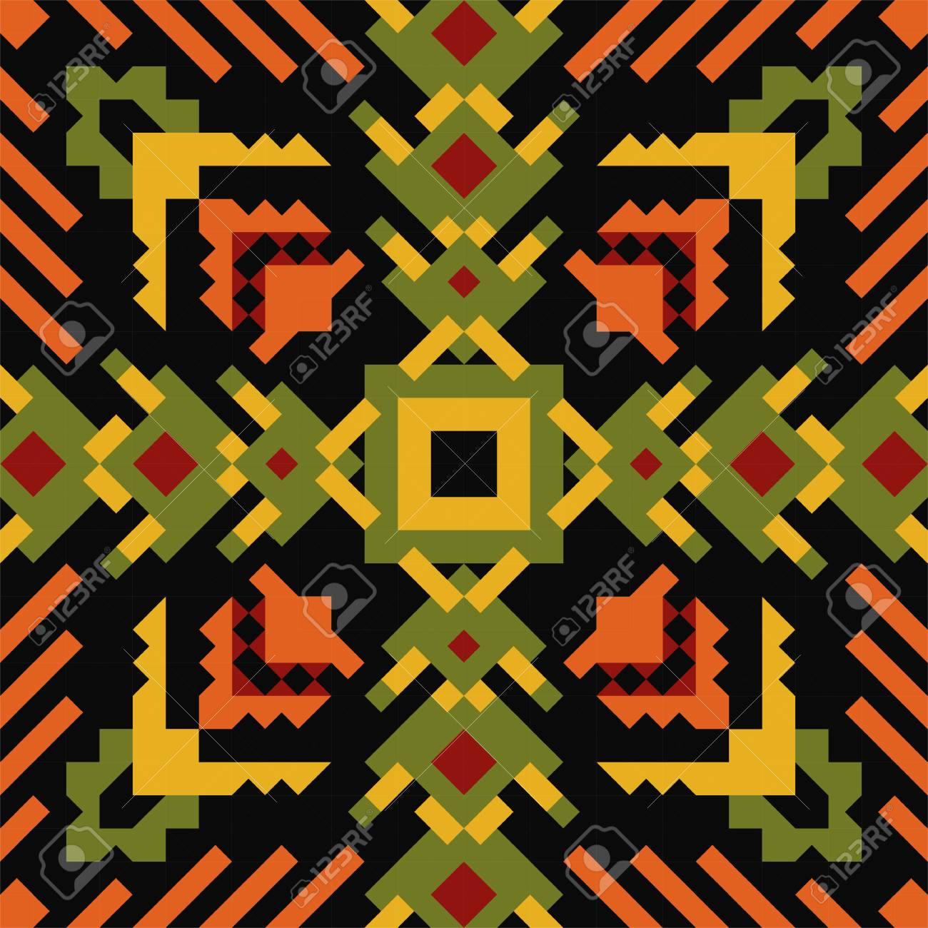 Tribal Vector Seamless Pattern. Aztec Fancy Abstract Geometric ...