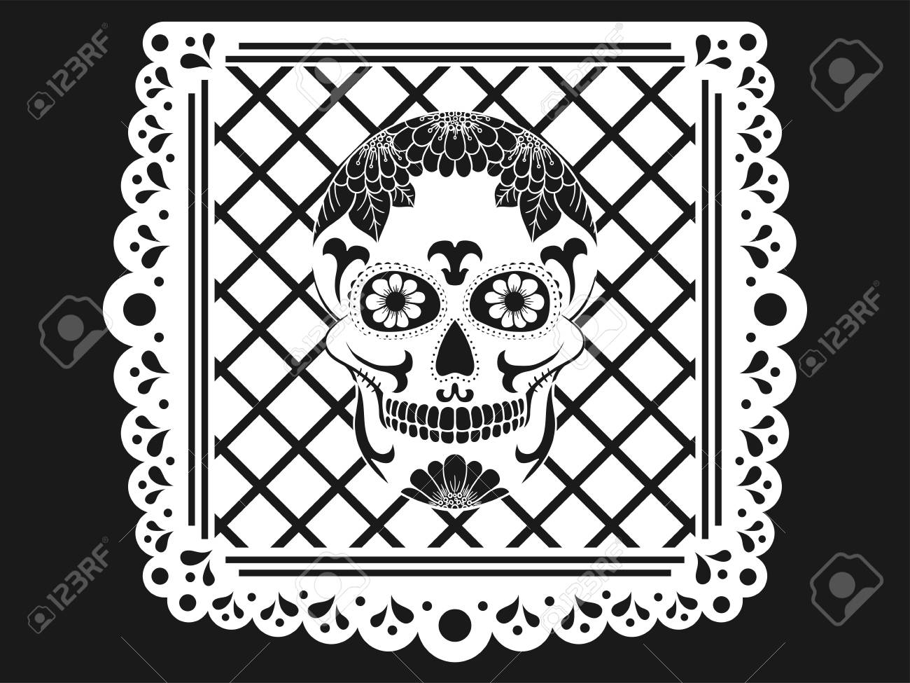 Day Of The Dead Paper Decoration With Skull And Ornament Mexican