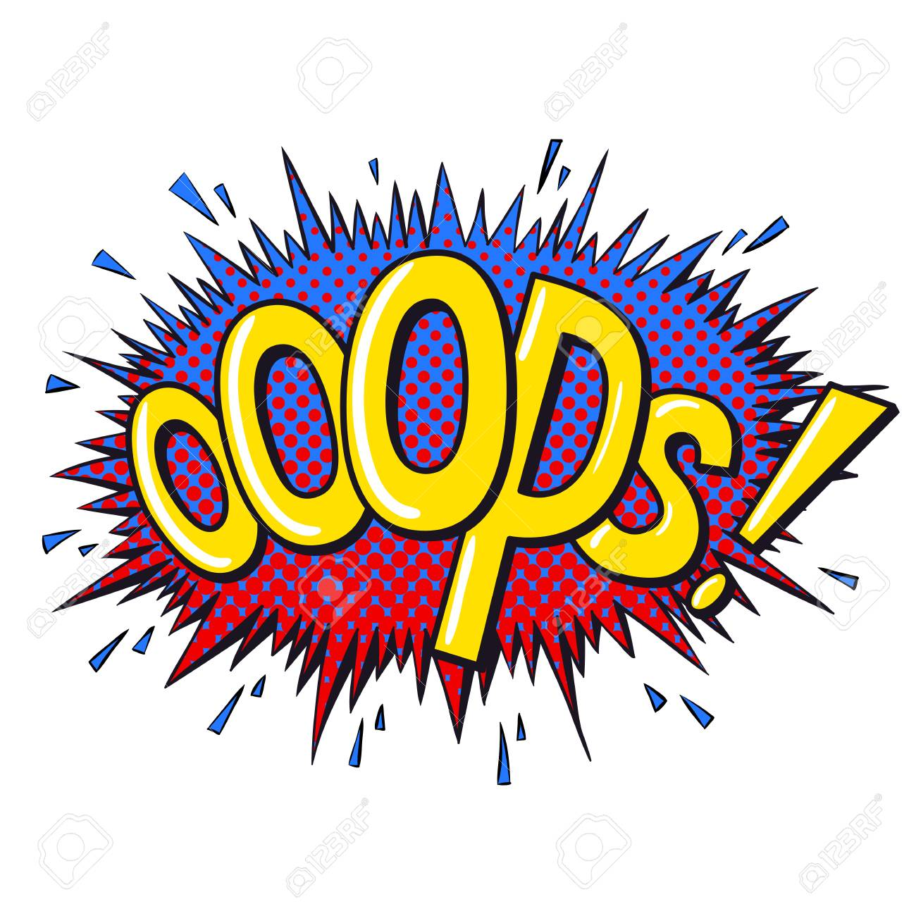 Comics text sound effects  Bubble speech phrase Ooops  Vector