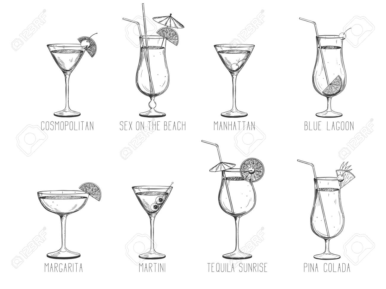 Alcoholic Cocktail Collection Manhattan Martini Tequila Royalty Free Cliparts Vectors And Stock Illustration Image 138496649