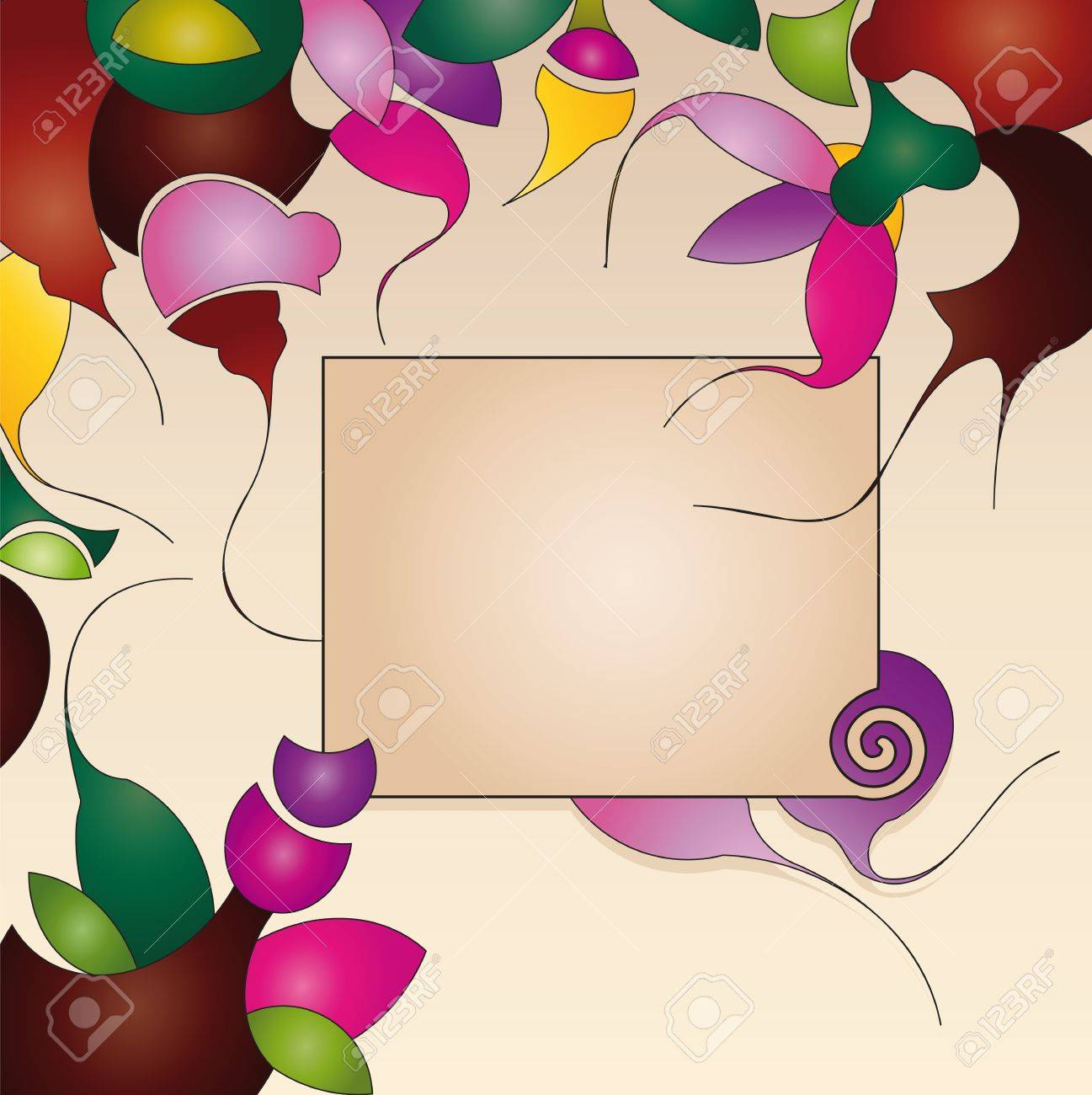 label on background with abstract flowers Stock Vector - 13165892
