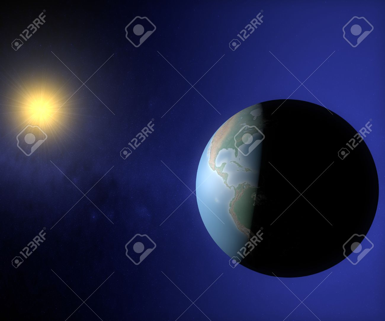 World Globe Map In The Space With Sun America Usa And Brazil - Usa globe map