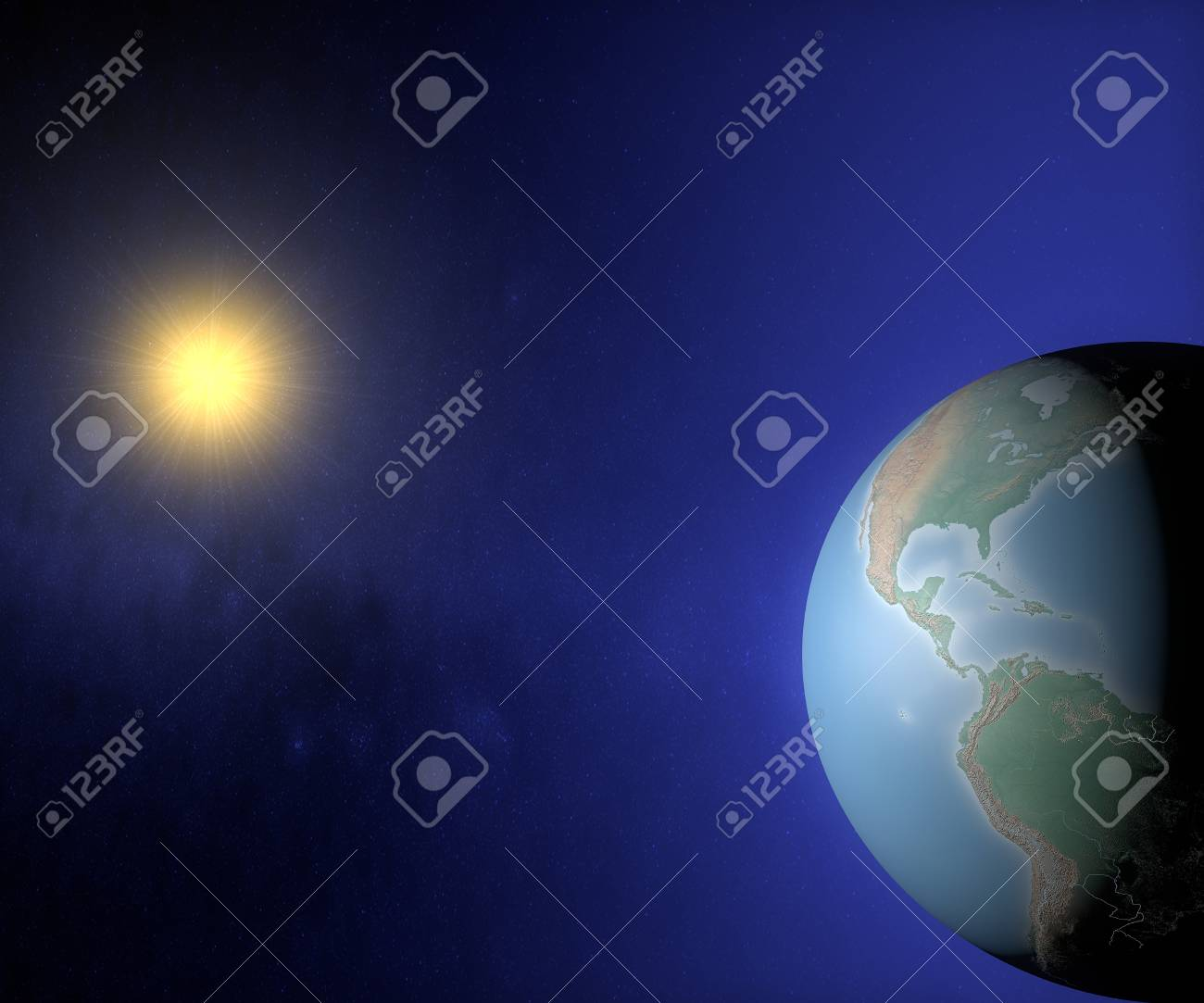 World globe map in the space with sun america usa and brazil stock stock photo world globe map in the space with sun america usa and brazil gumiabroncs Images
