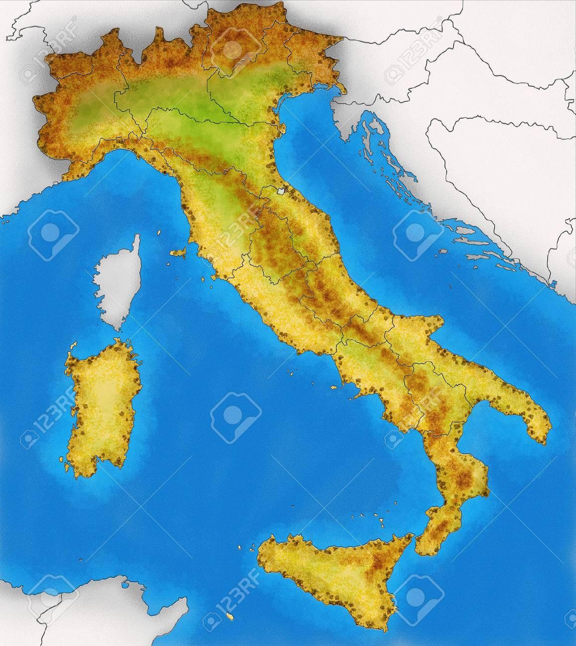Mapa De Italia Fisico.Mapa Fisico De Italia Ilustracion