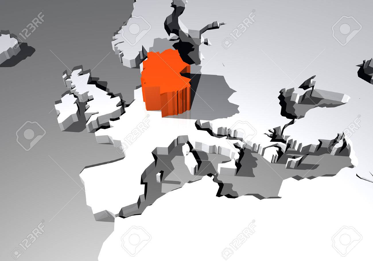 Map Of Europe With Germany Highlighted.Map Of Europe And Germany Highlighted In 3d