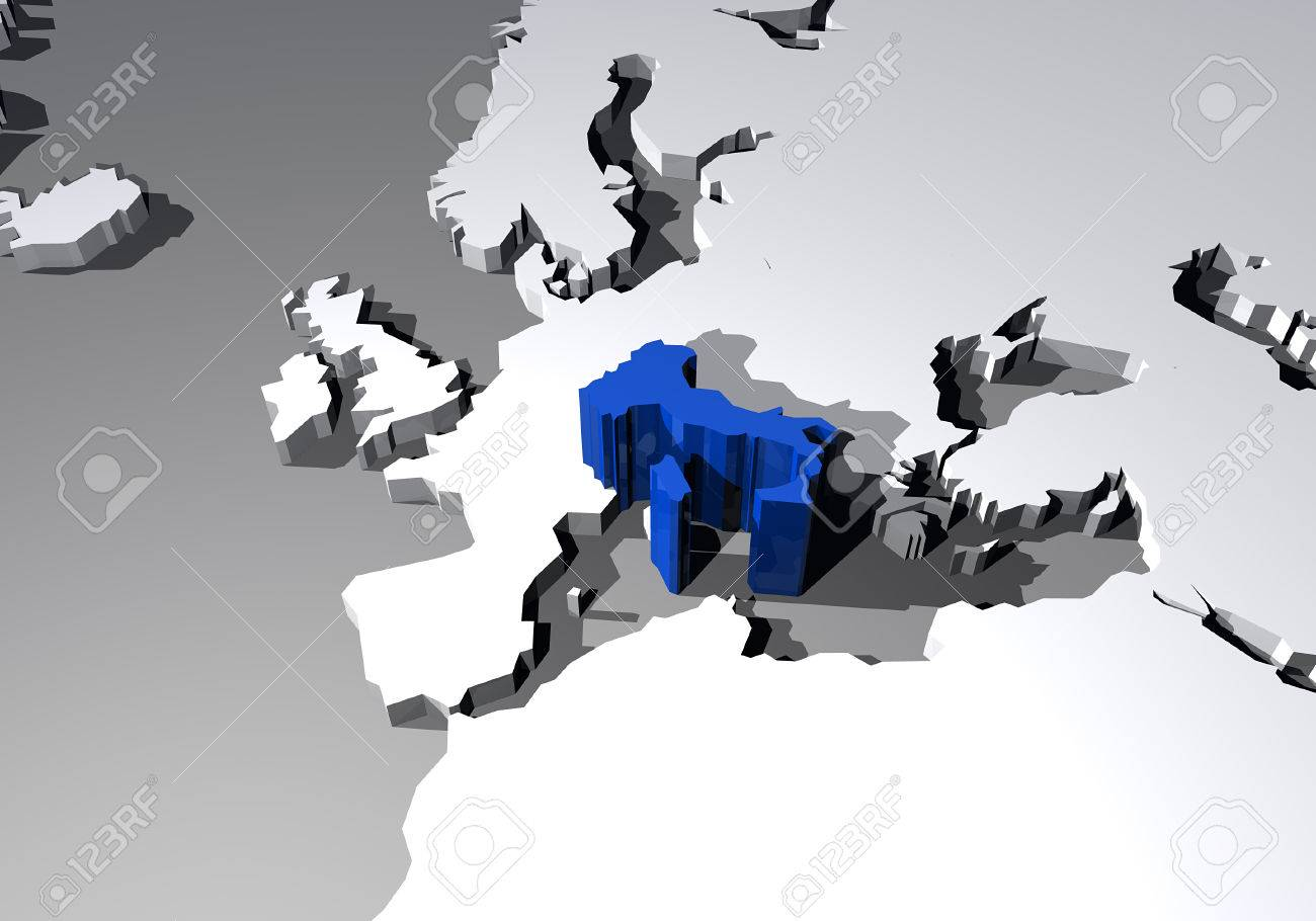 Map Of Europe With Italy Highlighted.Map Of Europe And Italy Highlighted In 3d