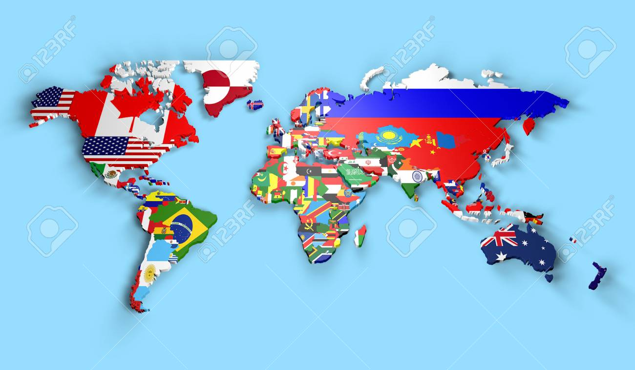 Map Of World Flags.Political Map Of World With Country Flags Stock Photo Picture And