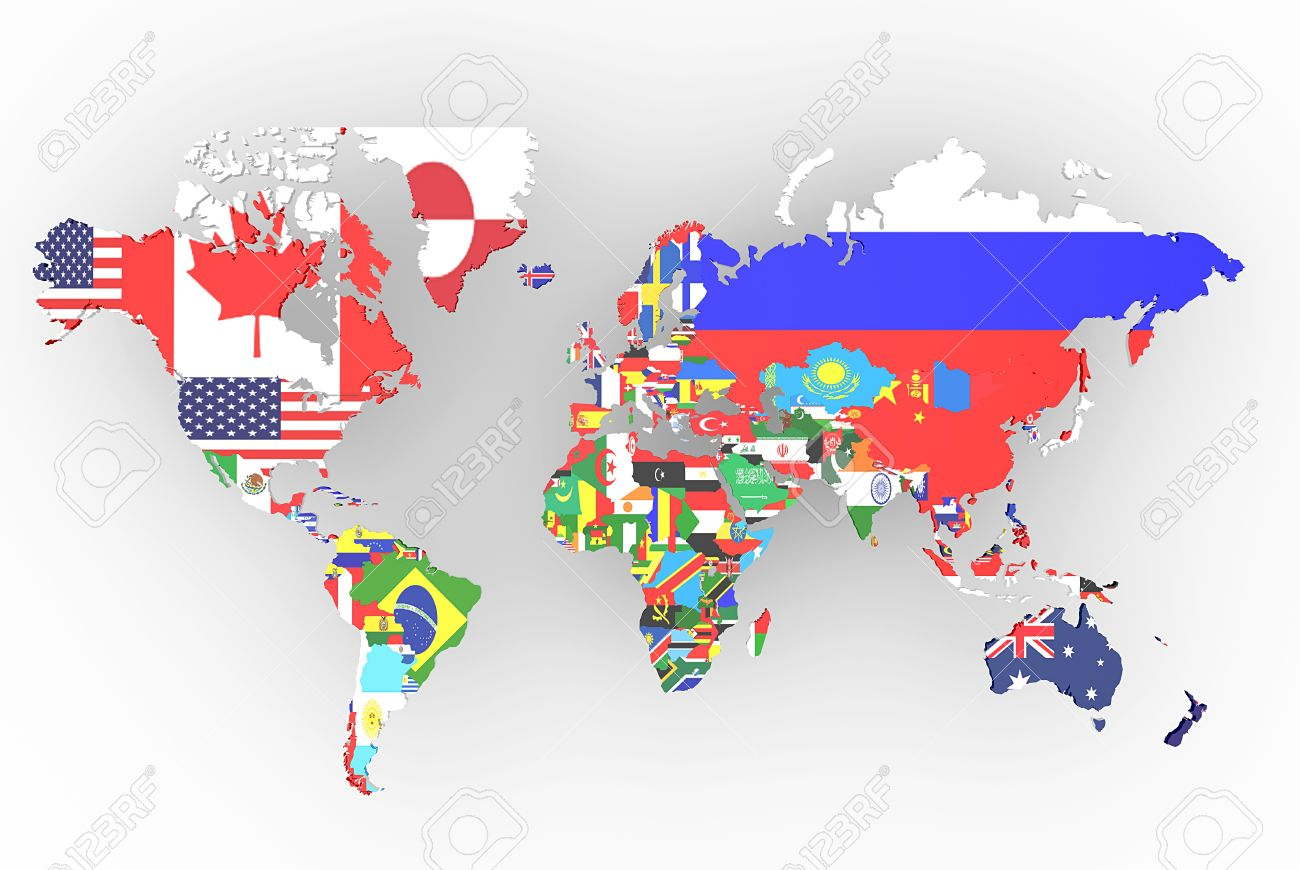 Political map of world with country flags stock photo picture and political map of world with country flags stock photo 23540830 gumiabroncs Choice Image