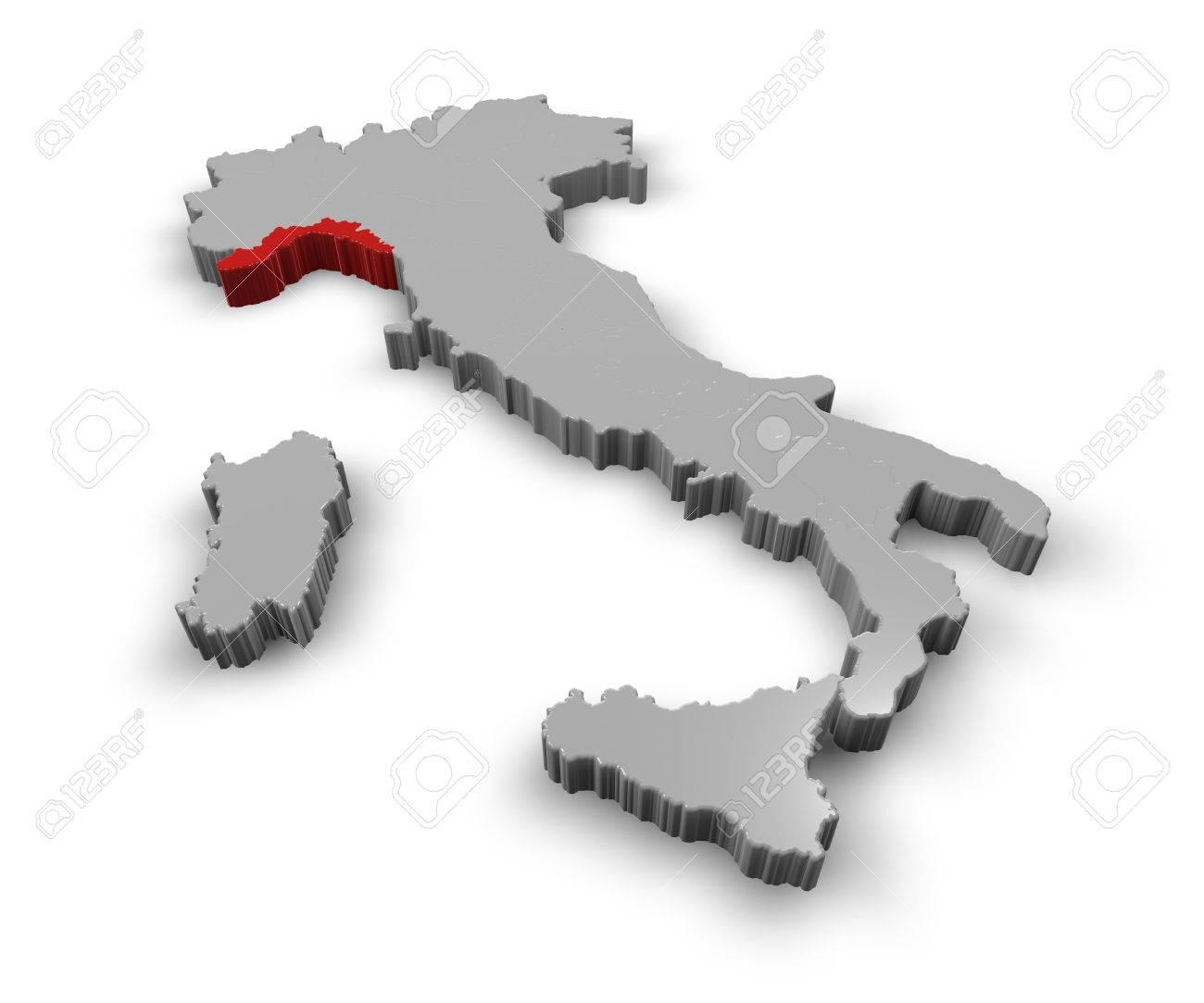 Carte Italie Ligurie.3d Carte De L Italie Regions Ligurie Banque D Images Et Photos