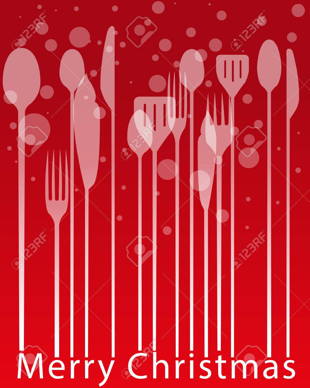 christmas menus silverware business lunch dinner invitation stock