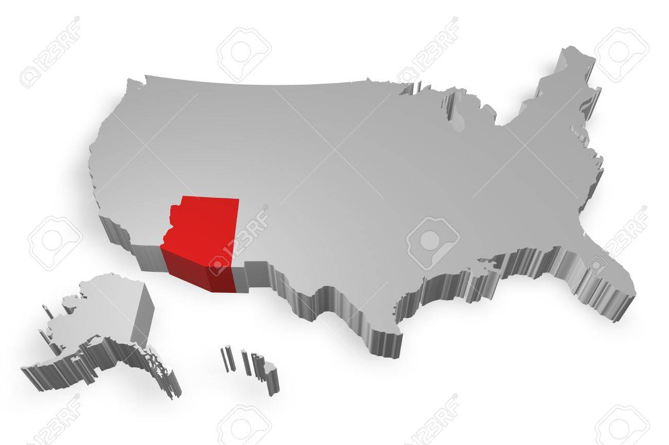 Arizona State On Map Of USA D Model On White Background Stock - Arizona state in usa map