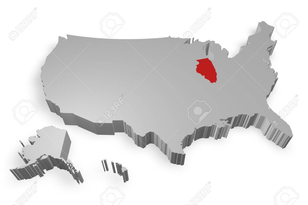 Illinois State On Map Of USA D Model On White Background Stock - Us map all white red background