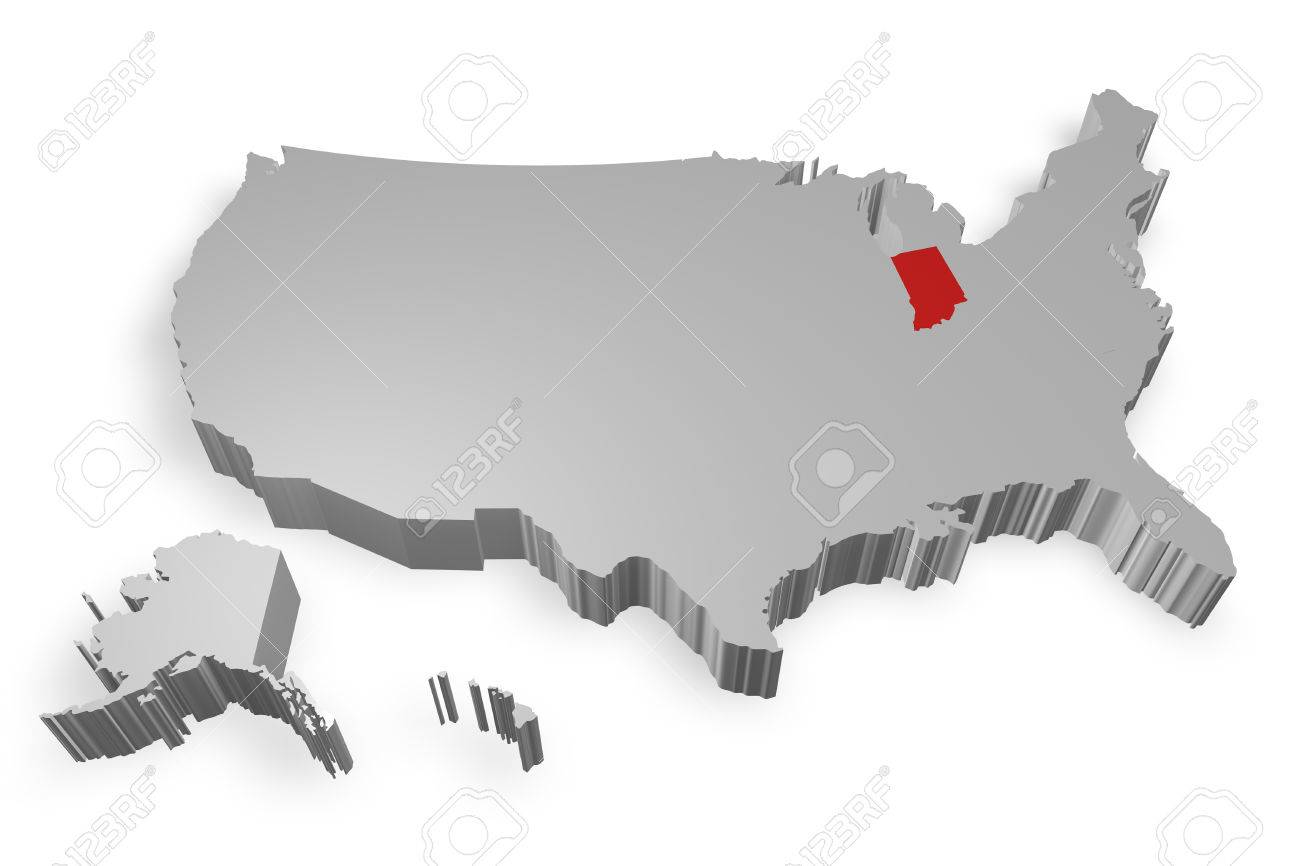 Indiana State On Map Of USA D Model On White Background Stock - Indiana on a map of the usa