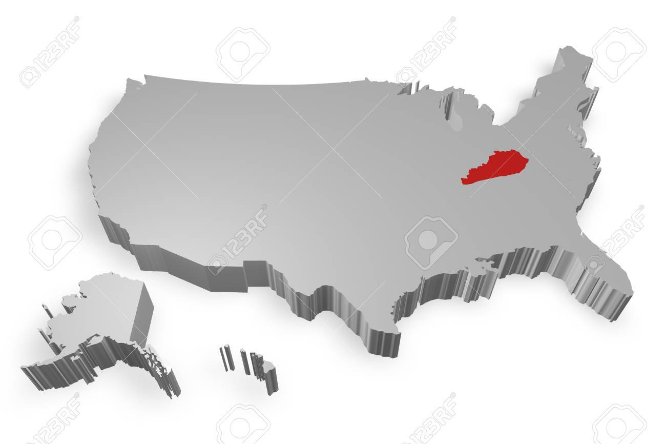 Kentucky State On Map Of USA D Model On White Background Stock - Kentucky on a map of usa