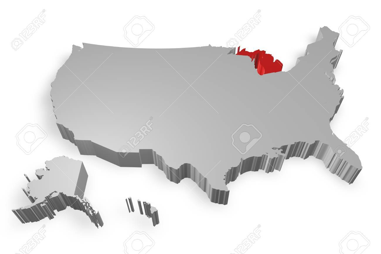 Michigan State On Map Of Usa 3d Model On White Background Stock
