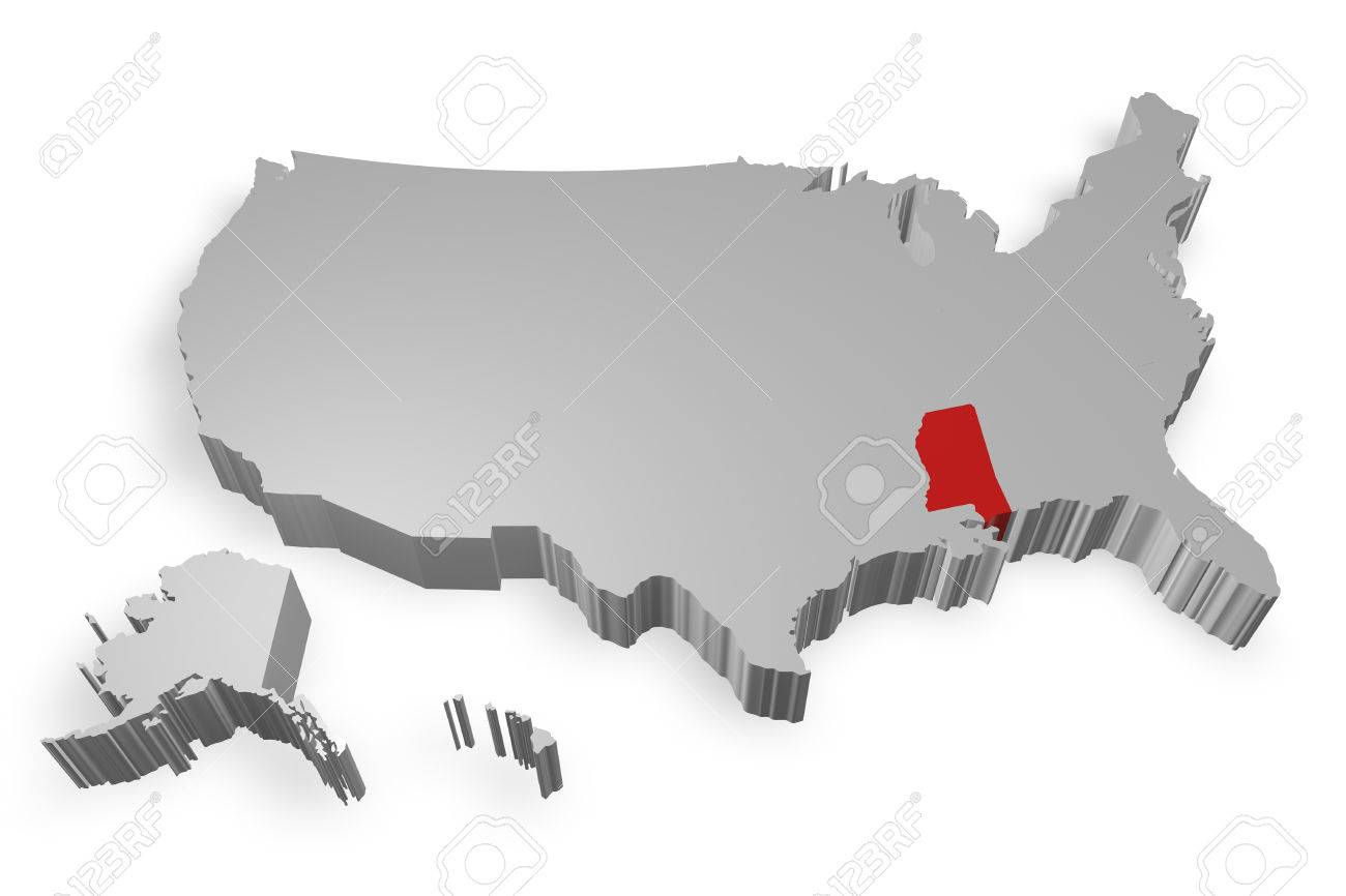 Mississippi State On Map Of USA D Model On White Background Stock - Mississippi state map usa