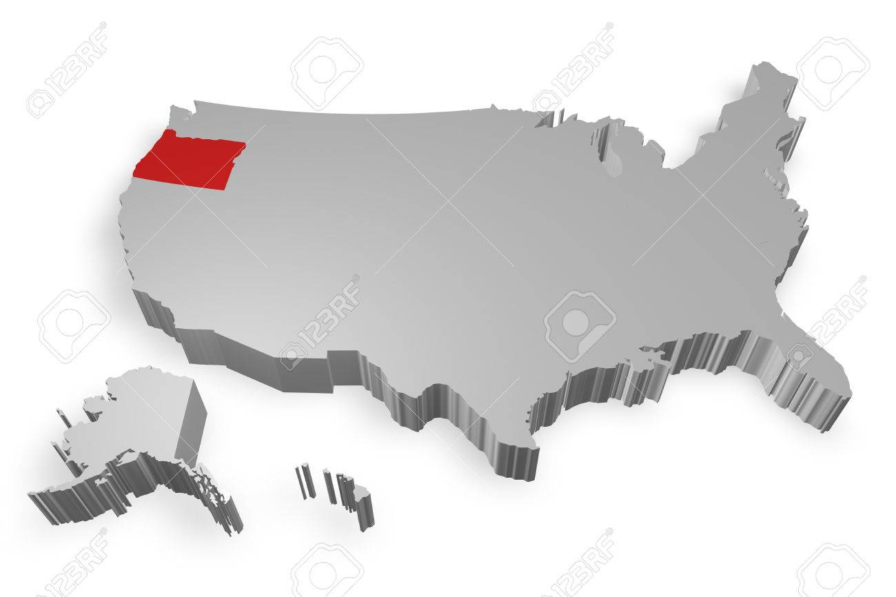 Oregon State On Map Of USA D Model On White Background Stock - Map of oregon state usa