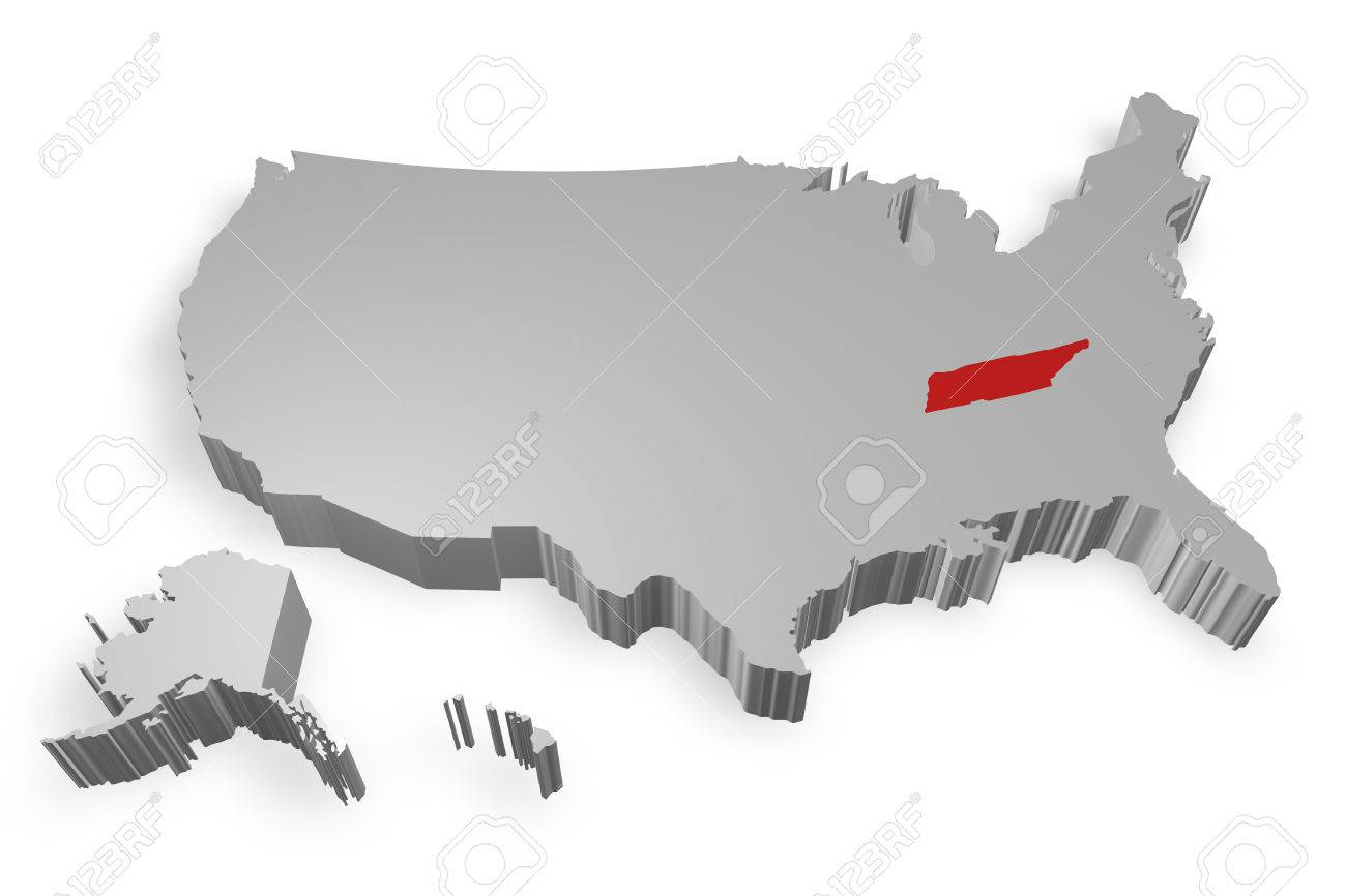 Tennessee State On Map Of Usa 3d Model On White Background Stock Po 25038820
