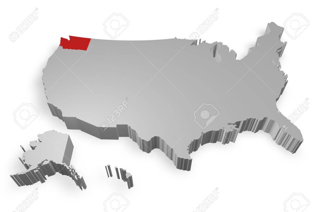 Washington State On Map Of USA D Model On White Background Stock - Washington on map of usa