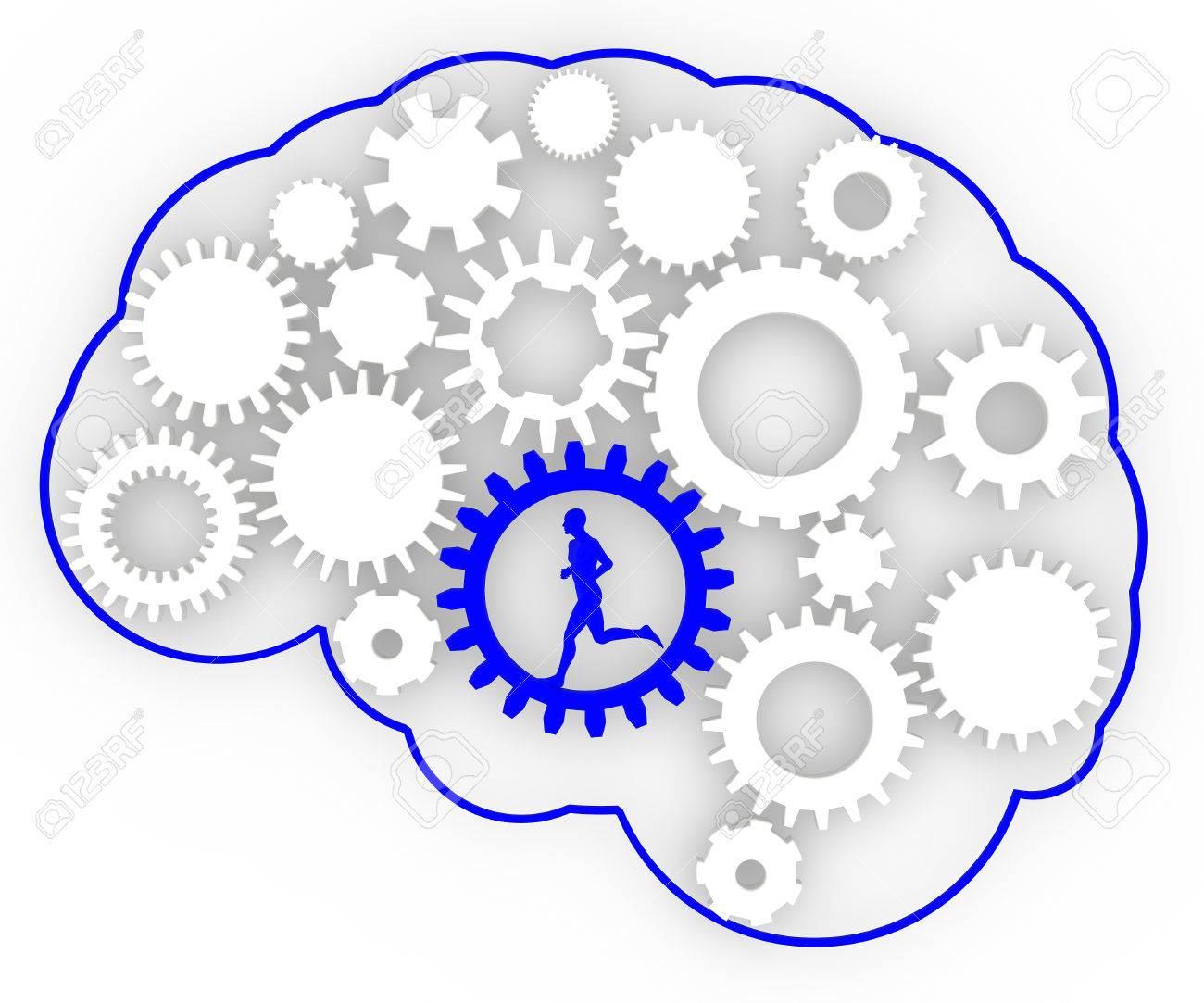Körper Gehirn Gänge Ideen Mann Läuft Mann Innerhalb Eines Getriebe ...