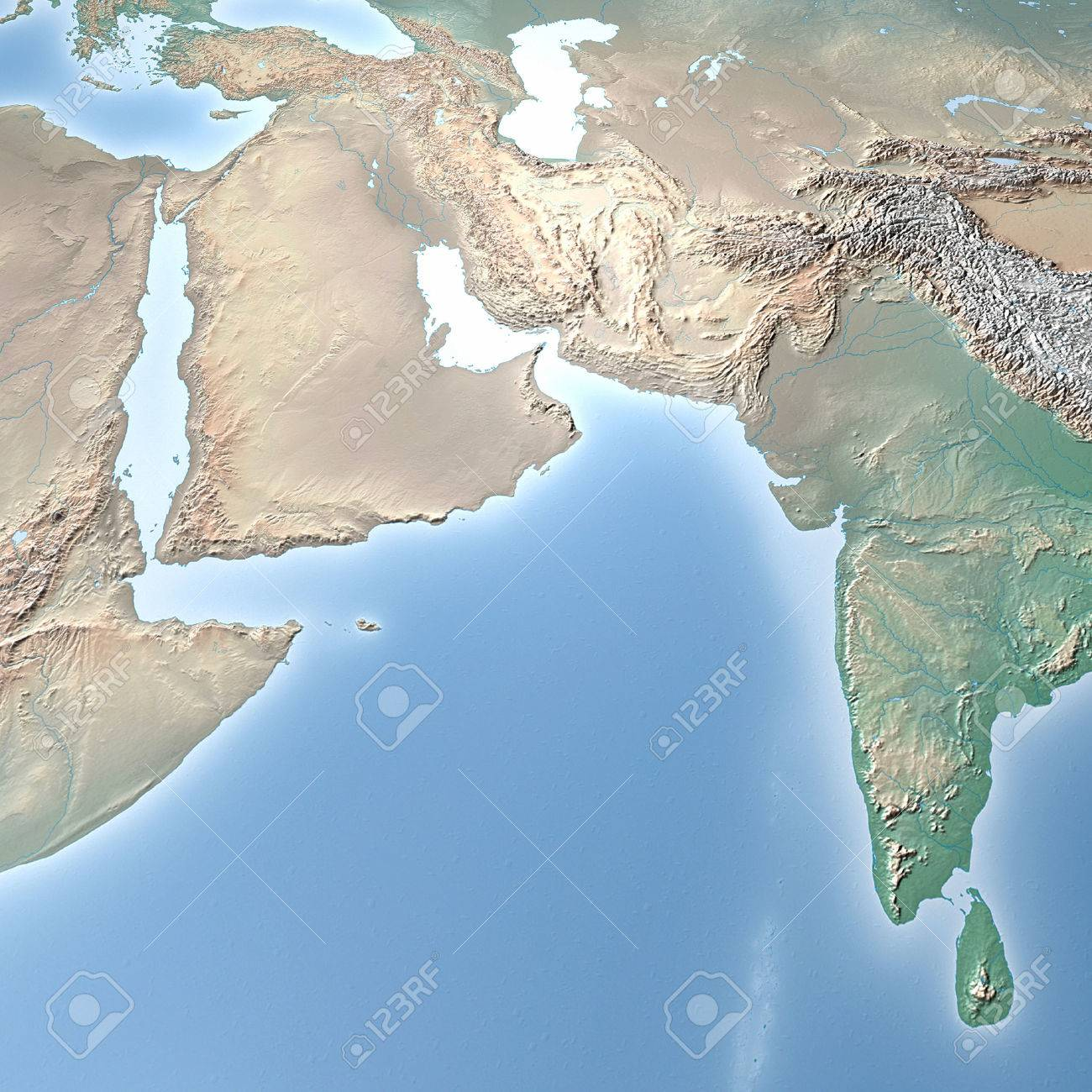 Stock Photo   World Map, Physical Map, Middle East, North Africa And Europe