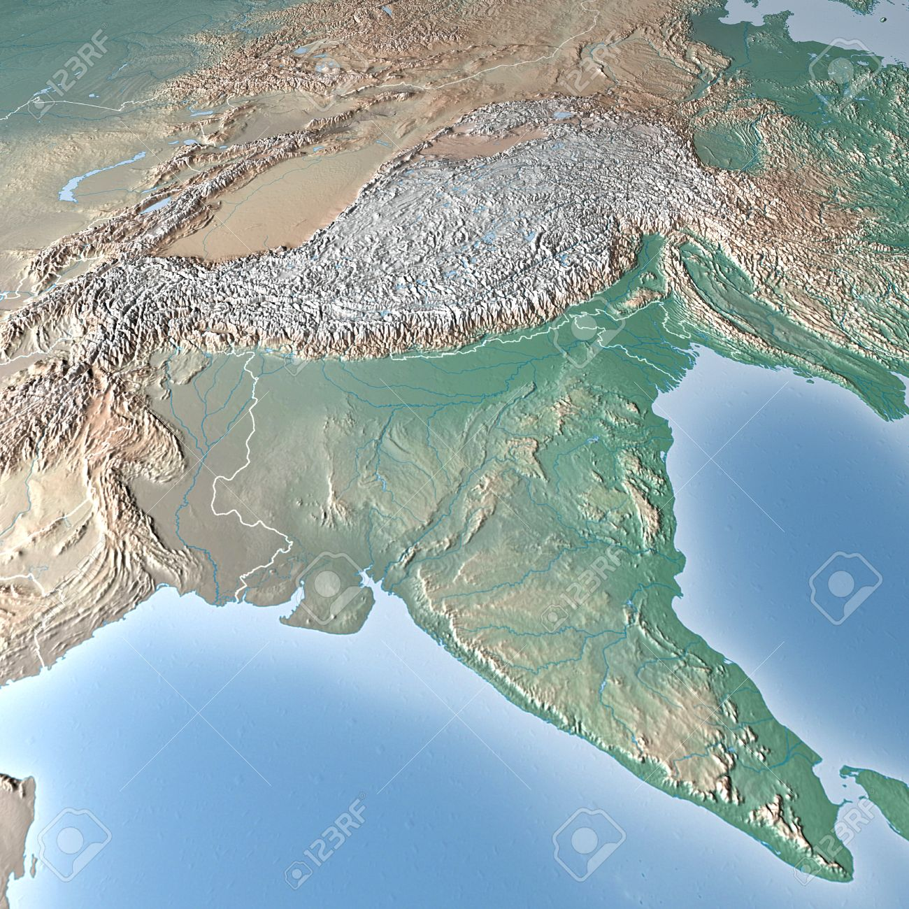 World Map Physical Map India Stock Photo Picture And Royalty Free