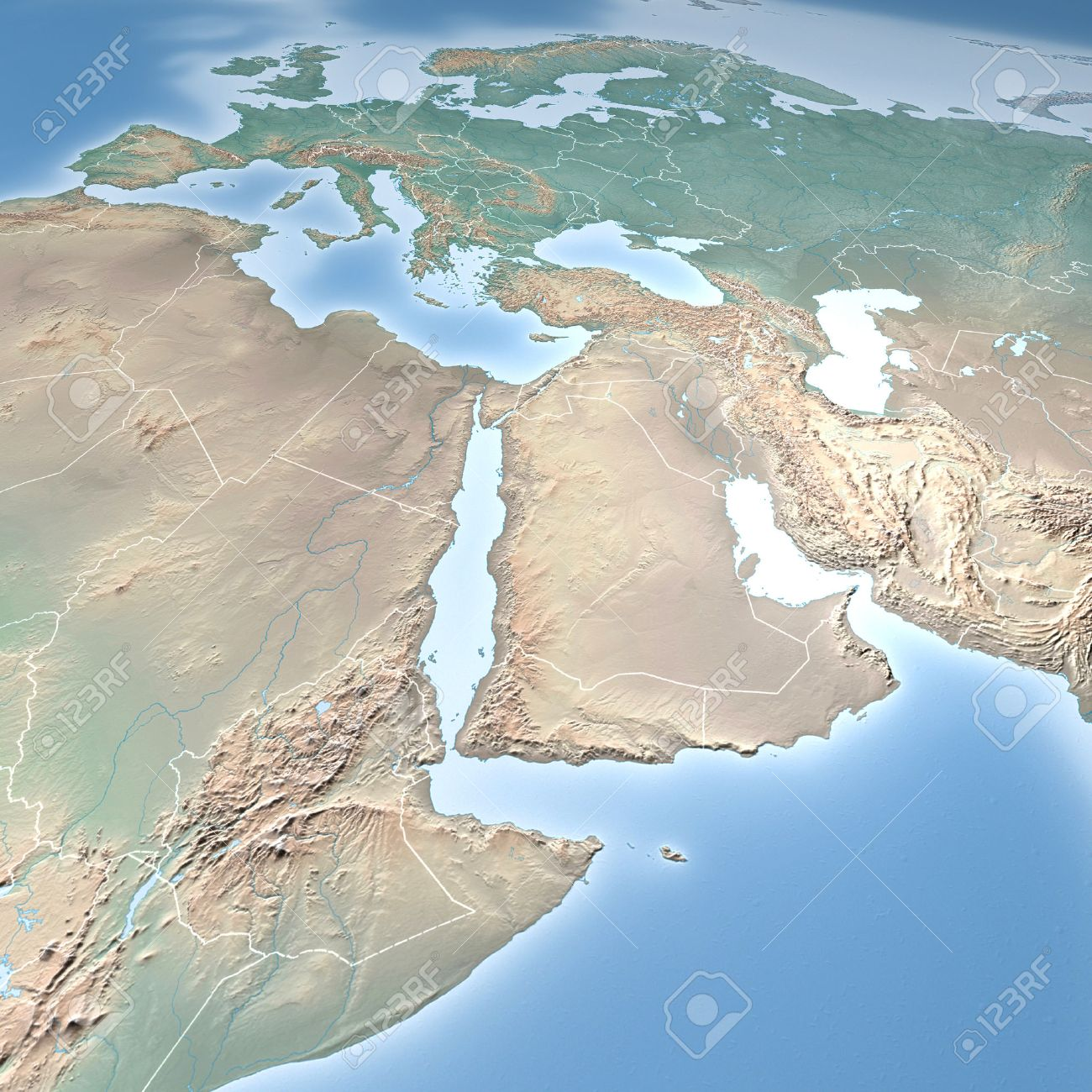 World Map Physical Map Middle East North Africa And Europe