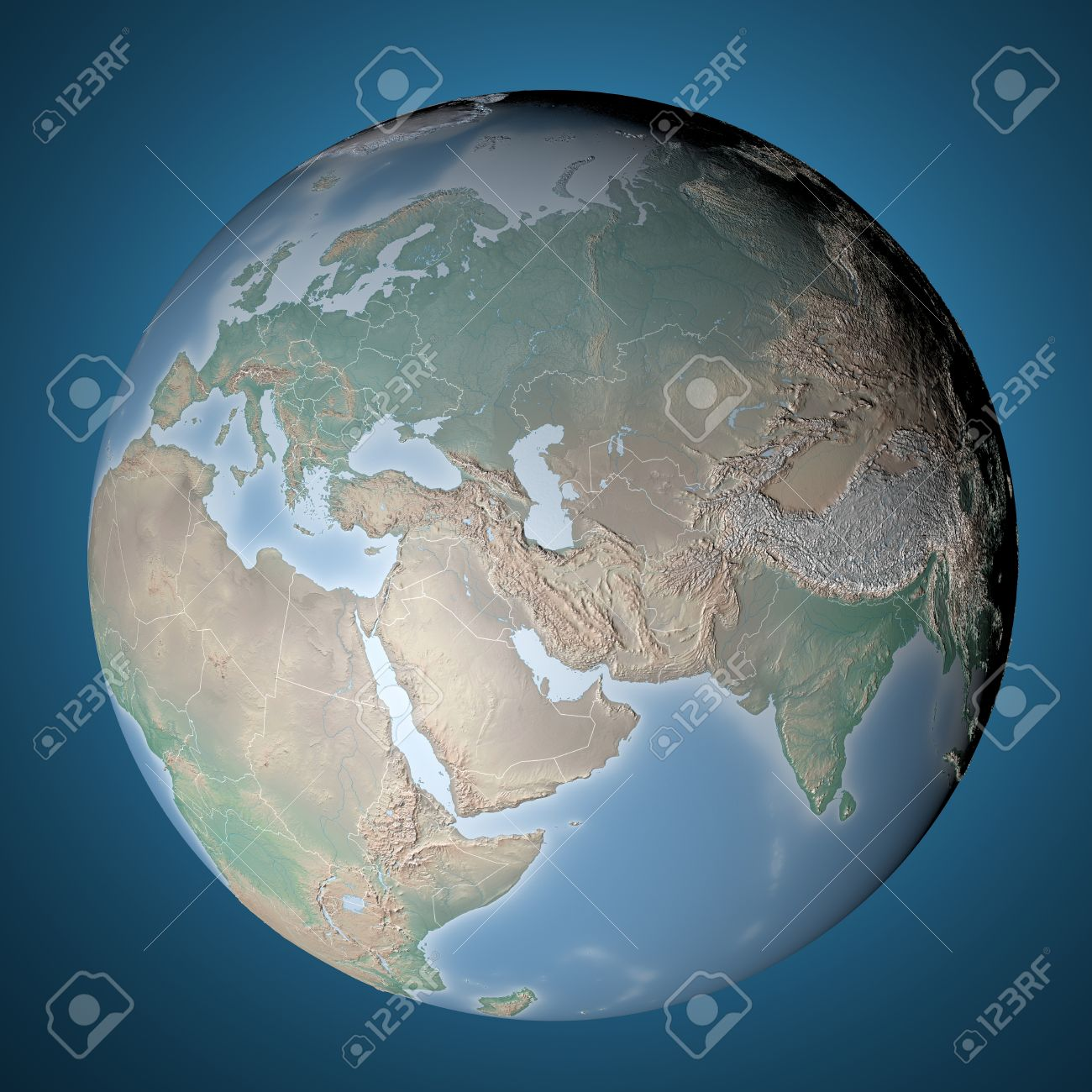 World Map, Physical Map, Middle East, North Africa, Europe And