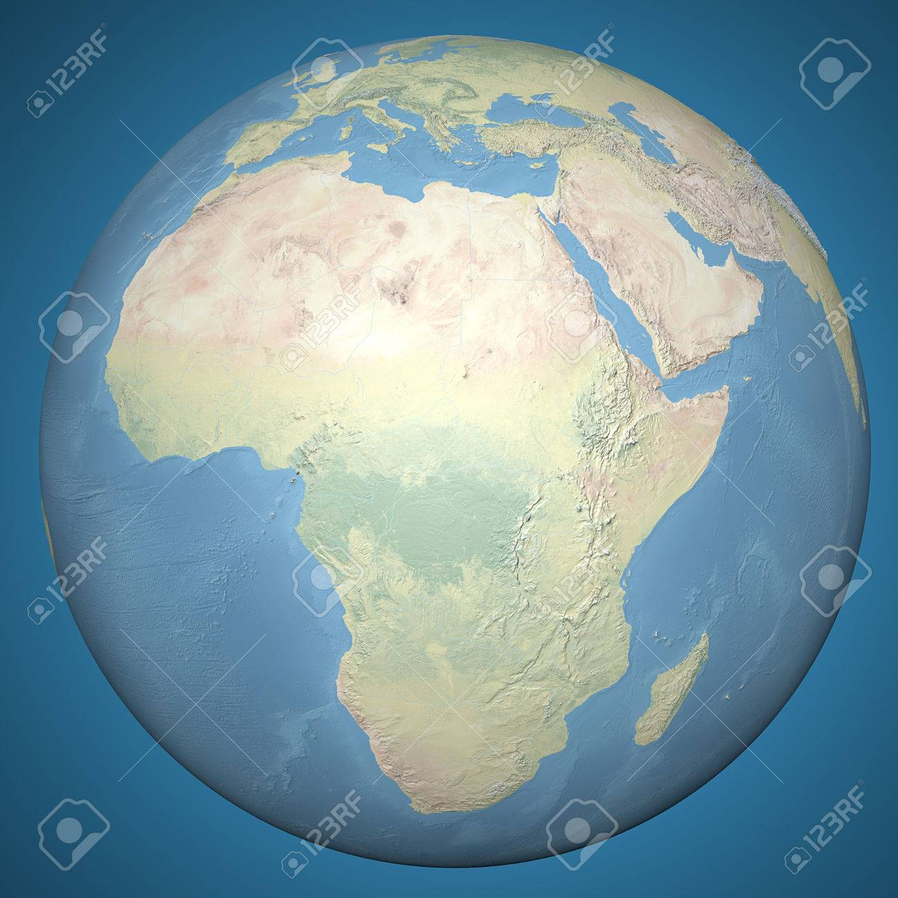 Relief Map Of The World.World Earth Globe Africa Middle East Relief Map Stock Photo