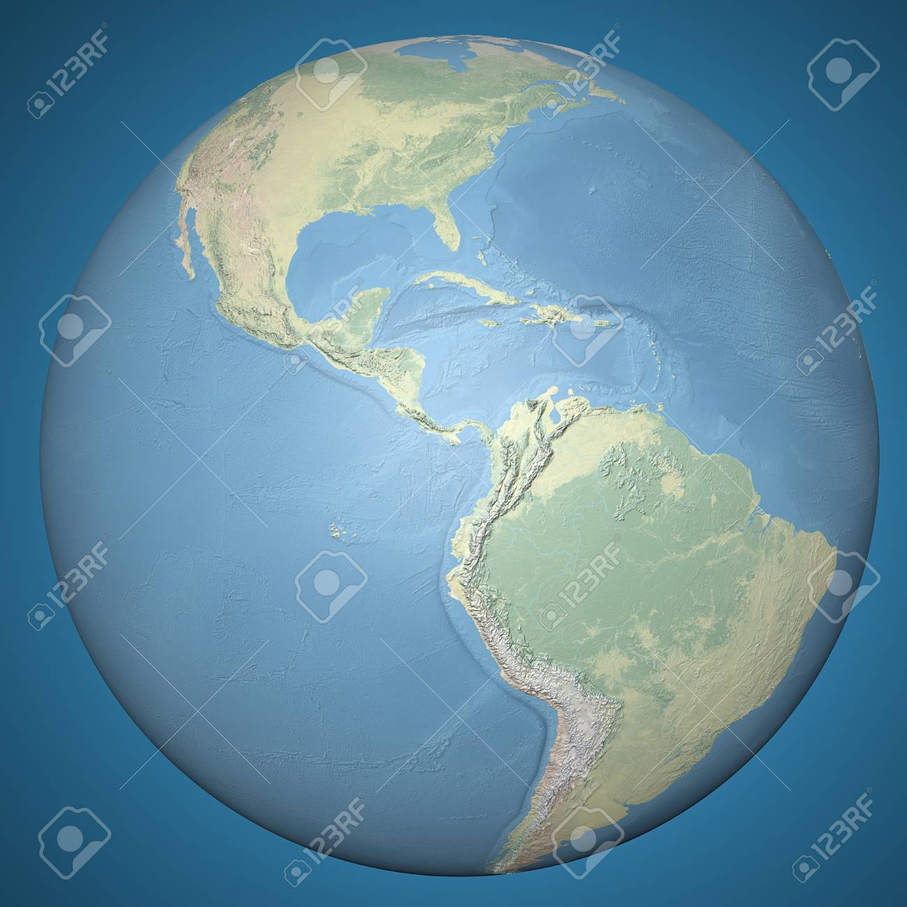 Relief Map Of The World.World Earth Globe Central America Physical Relief Map Stock Photo