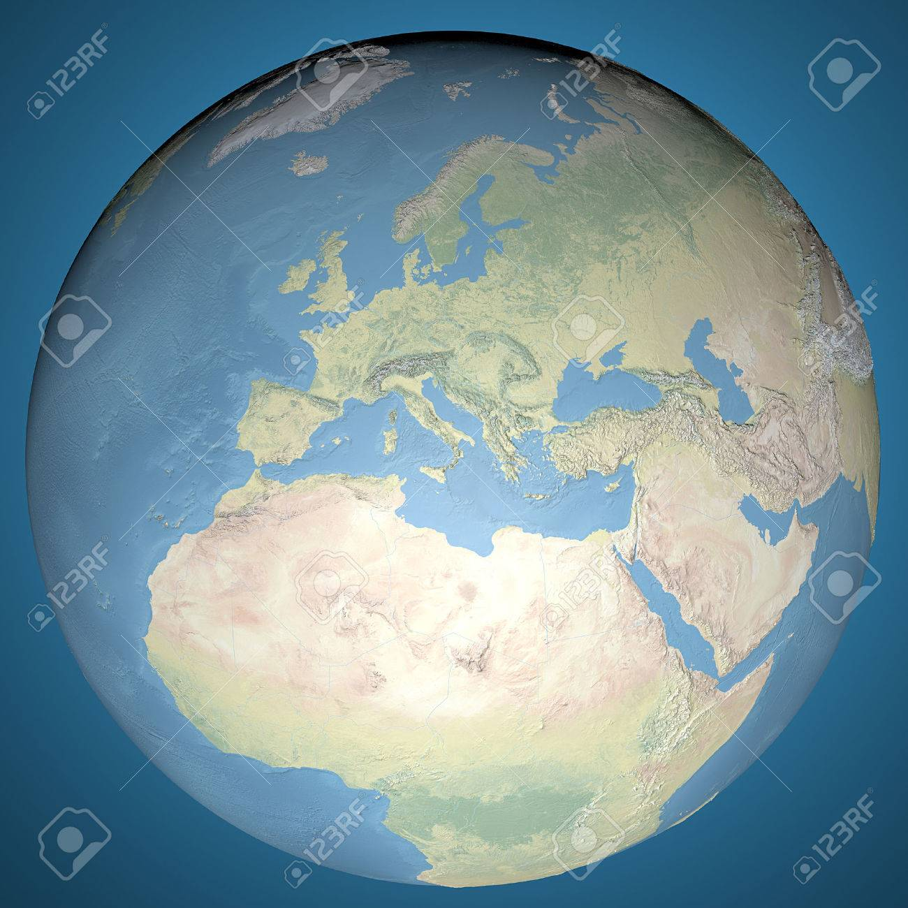 World Map Physical Map Europe Middle East And North Africa - Physical map of north africa