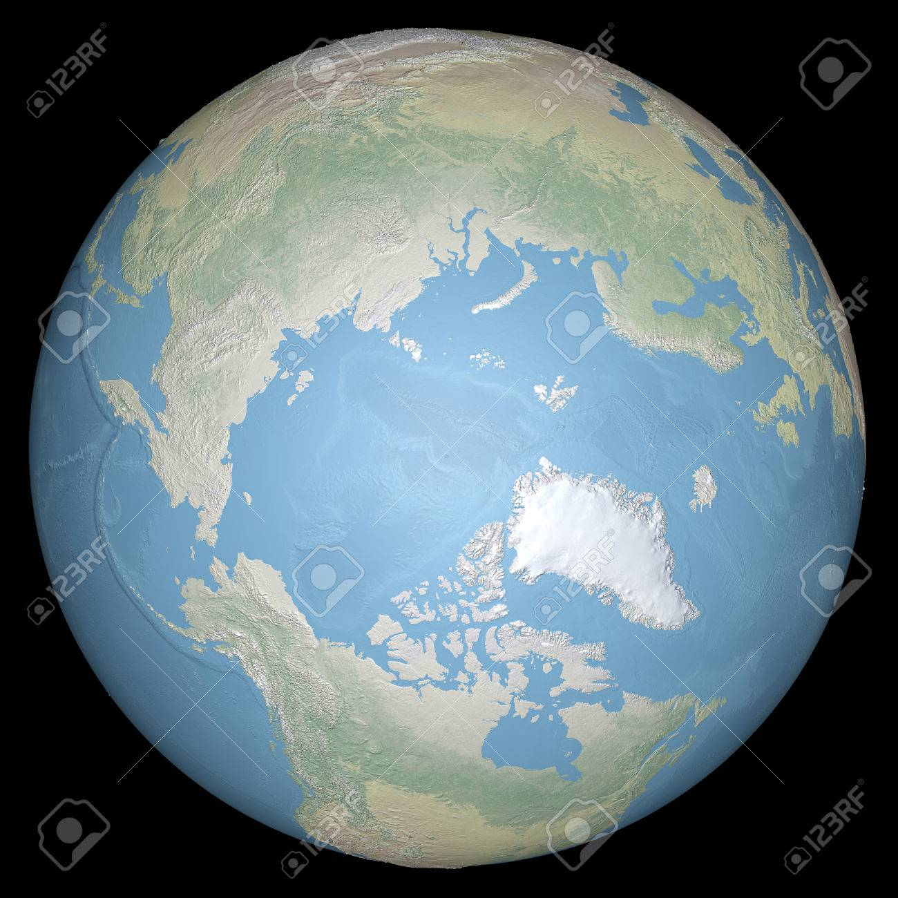 Relief Map Of The World.World Earth Globe Arctic North Pole Relief Map Stock Photo