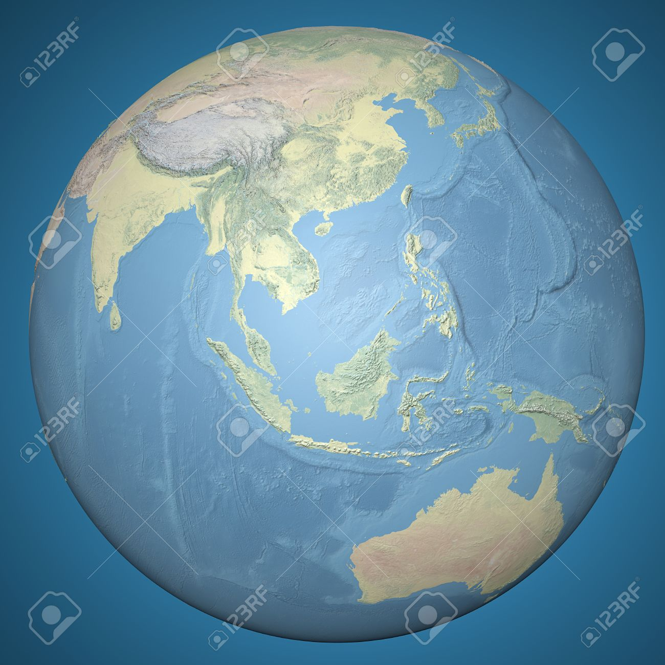 stock photo world earth globe asia indonesia relief map