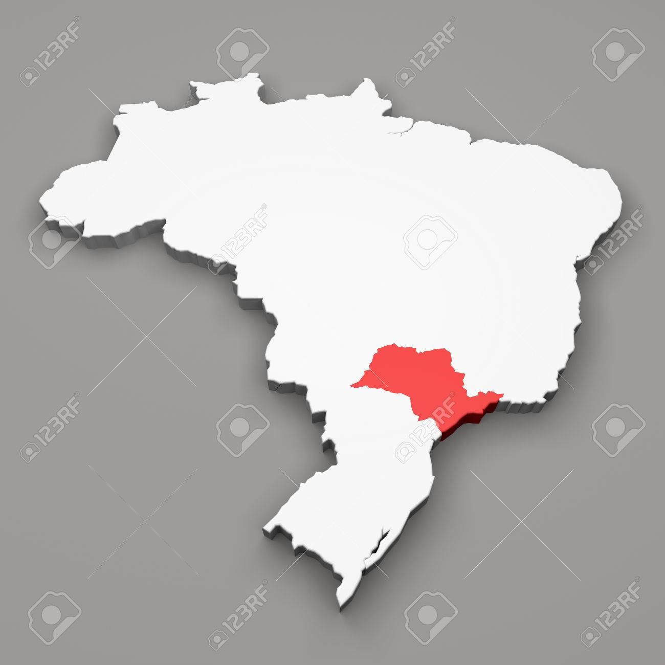 Sao Paulo State Map.Sao Paulo State On Map Of Brazil On Gray Background Stock Photo