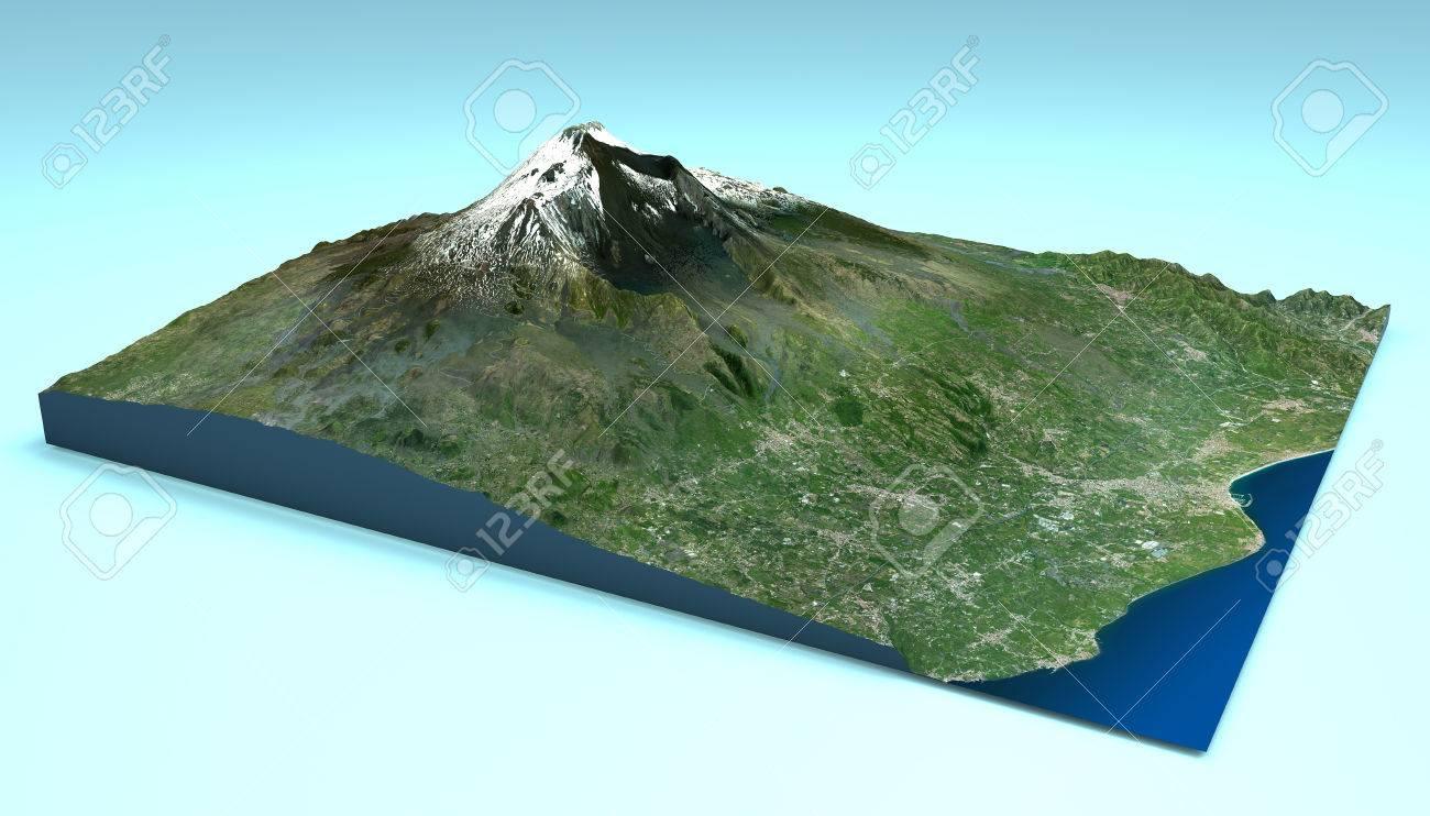 Sizilien Karte ätna.Stock Photo