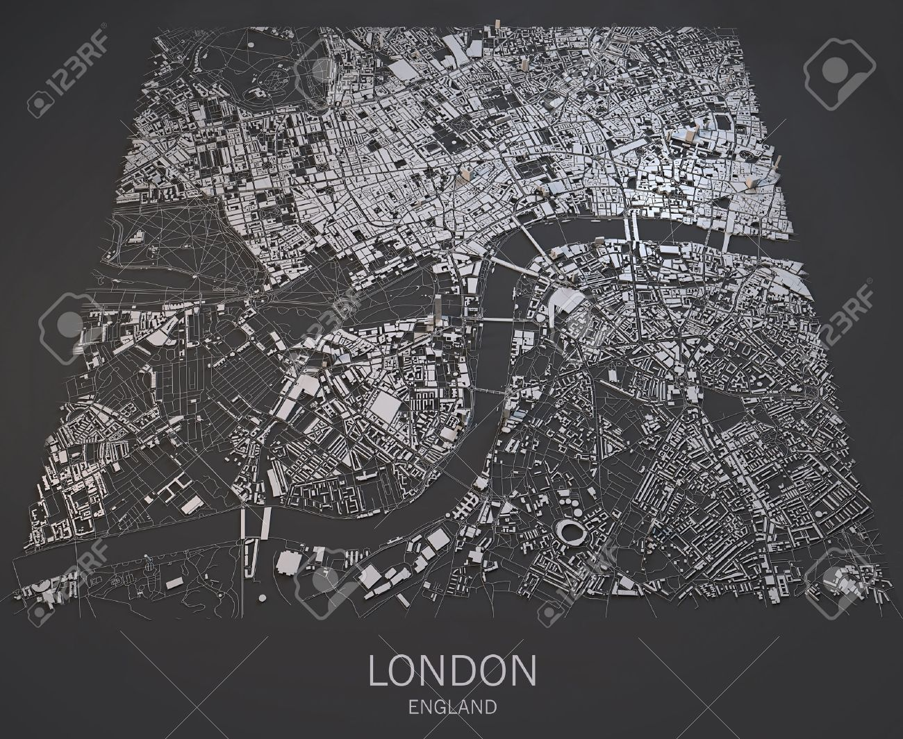 London Satellite Map View Palaces And Streets England Stock Photo