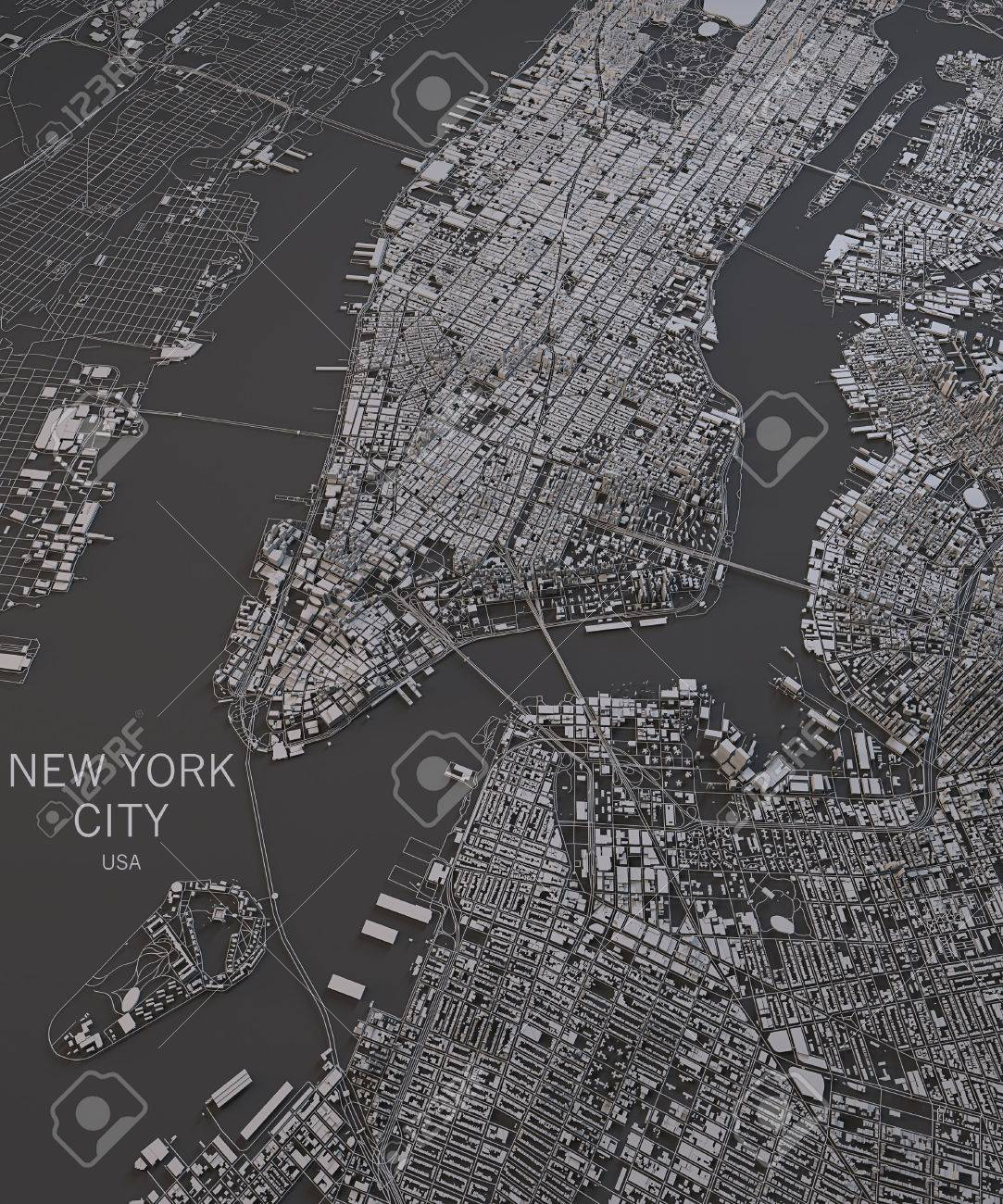 New York City Map Stock Photos Images Royalty Free New York City - Chicago map satellite