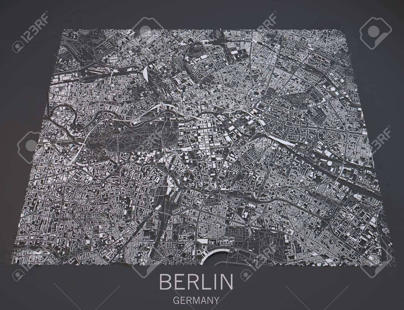 Map Of Berlin Germany View Satellite Maps In 3d Stock Photo Picture