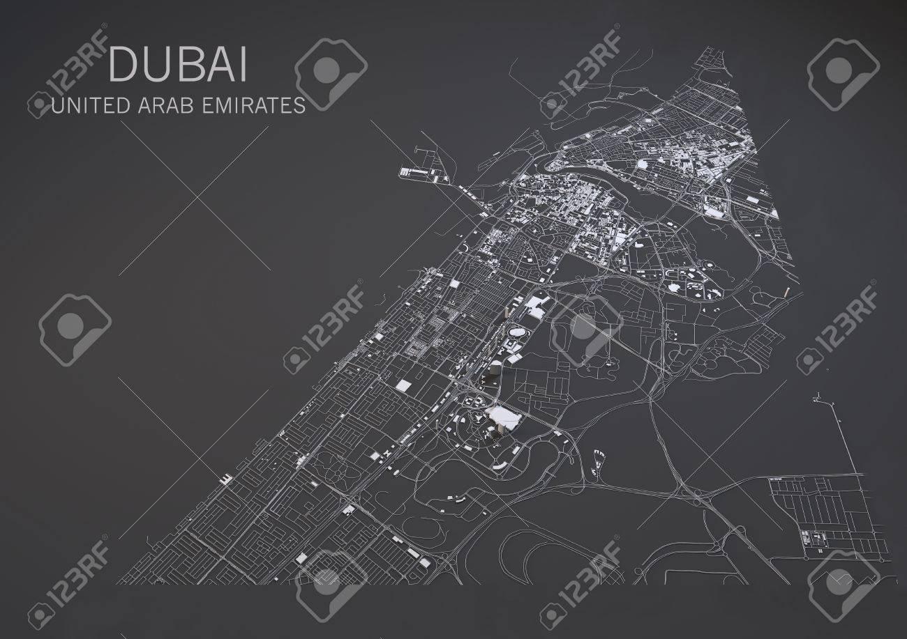 Dubai United Arab Emirates Satellite Map View In 3d Stock Photo