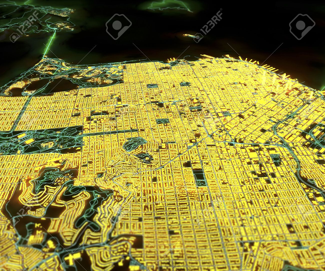 San Francisco USA Satellite Map View In 3d Night Lights Stock
