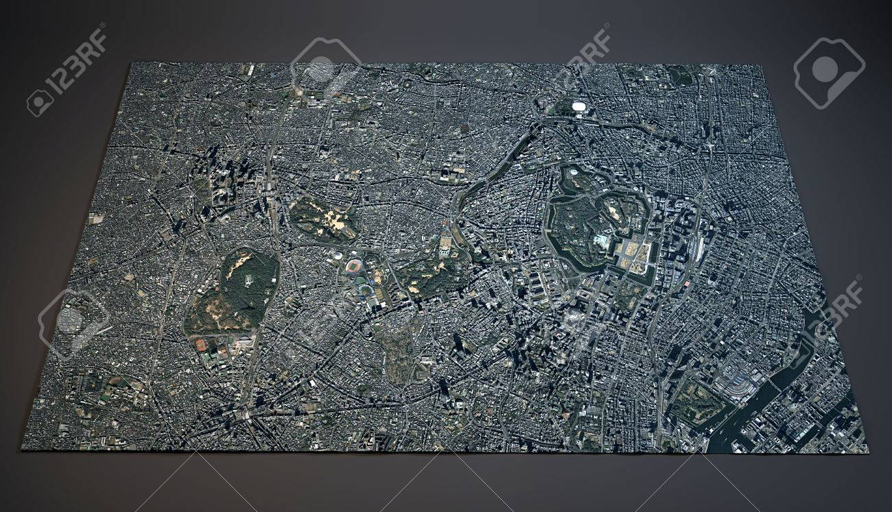 Tokyo Japan D Map Satellite View Stock Photo Picture And Royalty - Japan map view