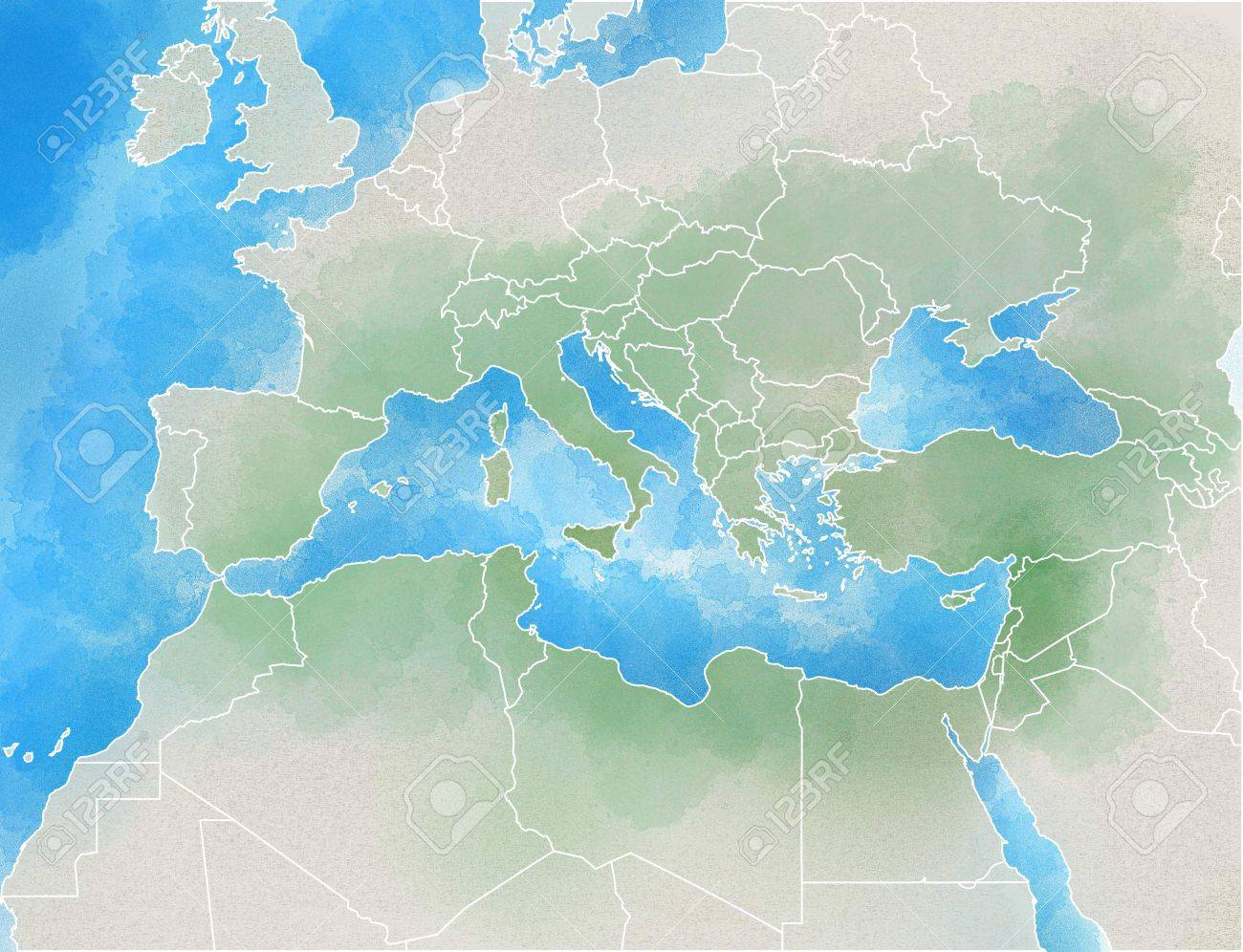 Drawn Map Showing Europe, Mediterranean, Africa, Middle East Stock ...
