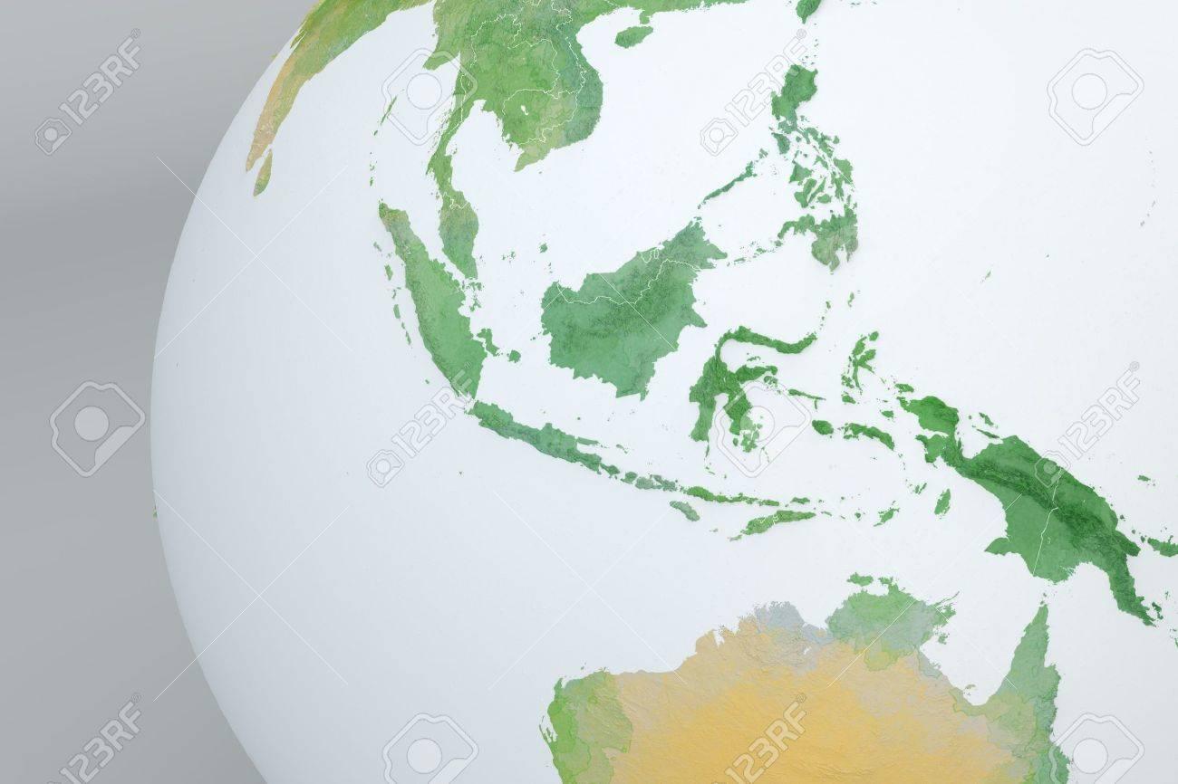 Carte Australie Malaisie.Globe Carte De L Asie L Indonesie La Malaisie L Australie La Carte En Relief Avec Des Frontieres Physiques Tire Par La Main