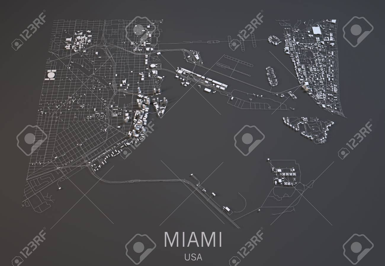 United States Map Satellite.Miami Map Satellite View City United States Stock Photo Picture