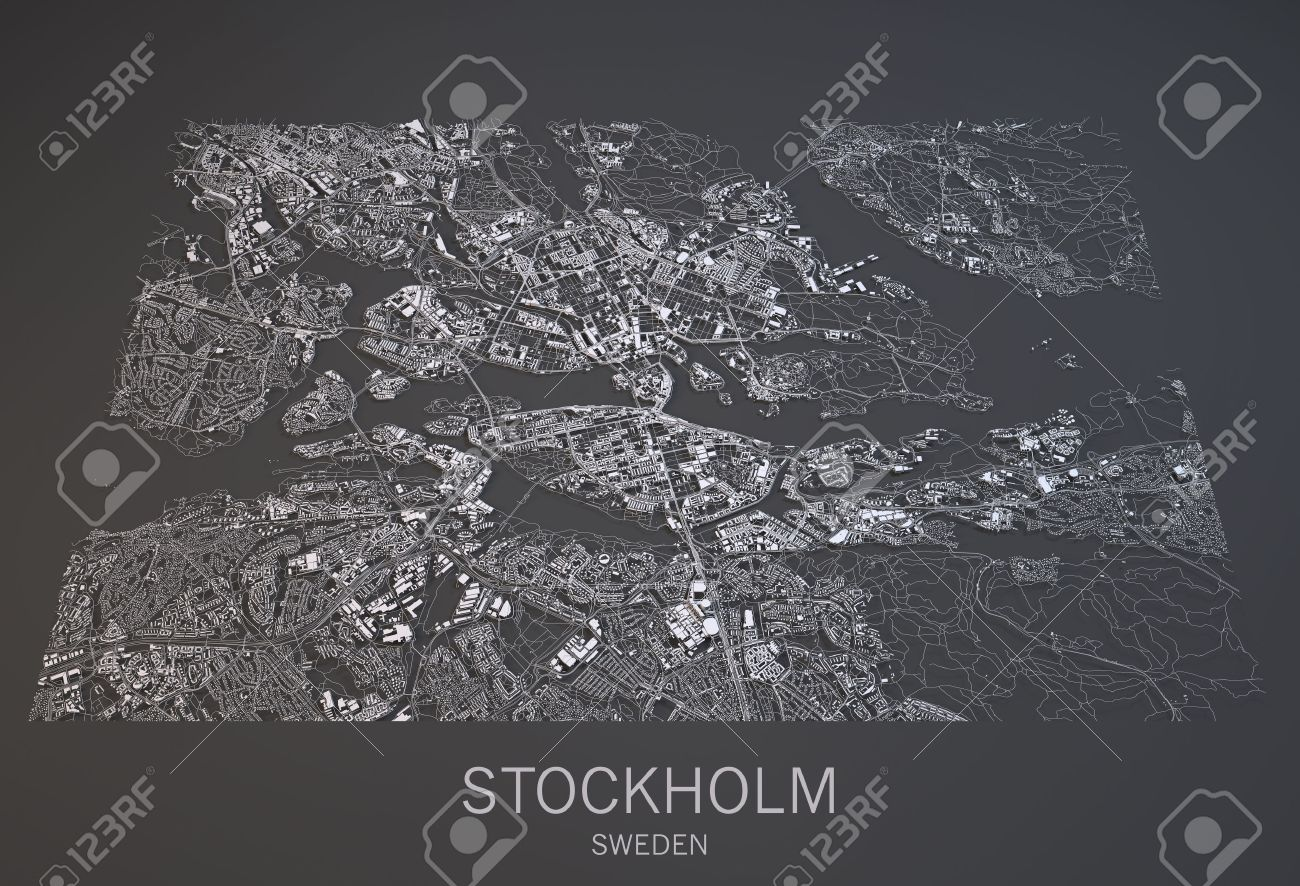 Stockholm Map Satellite View City Sweden D Black And White - Sweden map satellite
