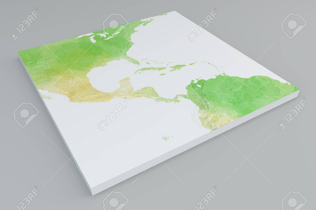 Flat physical map section of Central America on grey background